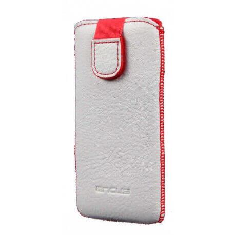 Θήκη Protect Ancus για Apple iPhone 5/5S/5C Δέρμα Λευκή με Κόκκινη Ραφή
