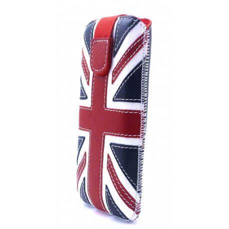 Θήκη Protect Ancus UK Flag για Apple iPhone 5/5S/5C Δέρμα Navy με Λευκή Ραφή