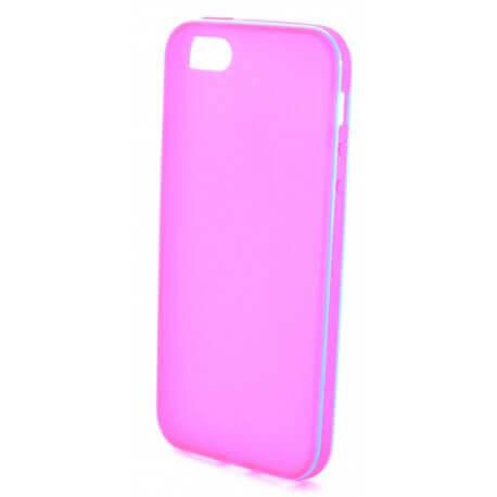 Θήκη Σιλικόνης Ancus για Apple iPhone 5/5S Ρόζ με μπλέ περίγραμμα