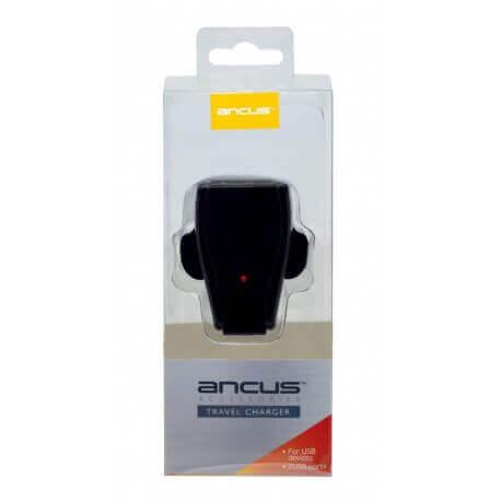 Φορτιστής Ταξιδίου Ancus Dual USB 5V 1000 mAh για Αγγλική Πρίζα (3-Pin)