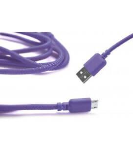 Καλώδιο σύνδεσης Κορδόνι Ancus USB σε Micro USB με Ενισχυμένες Επαφές Μώβ