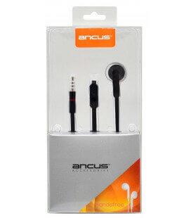 Hands Free Ancus Zeno Mono 3.5 mm για Apple-Samsung-HTC-Sony Μαύρο με Καλώδιο Πλακέ και Πλήκτρο Απάντησης